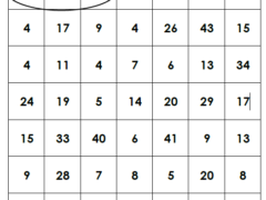 Subtraction Sums Grid
